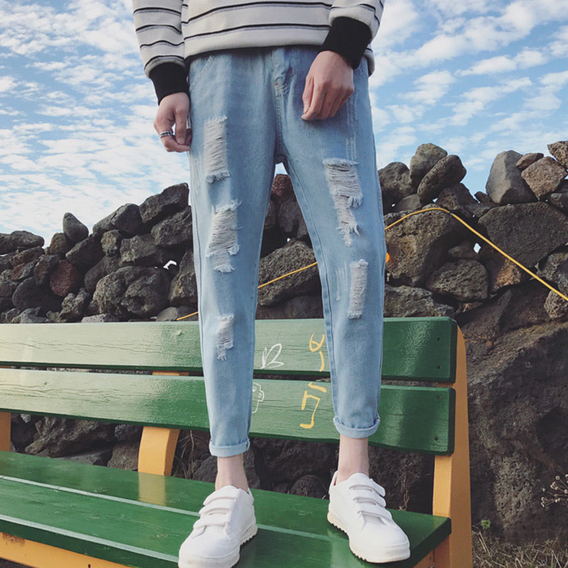 With Holes Jeans Men Slim Fit Spring New Style 2017 Skinny Straight-Cut Korean-style Trend Ripped Jeans Capri