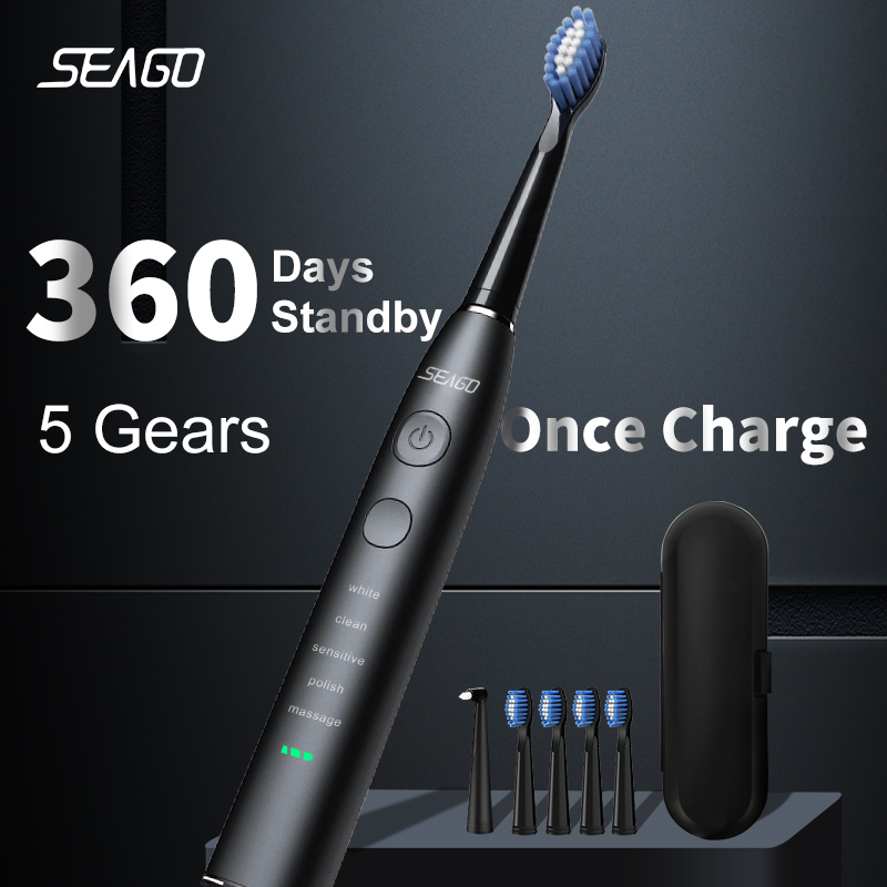 Top SaleSEAGO Electric Toothbrush Rechargeable Waterproof Adult USB With5 360-Days Upgraded Long-Standby