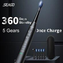 SEAGO Sonic Elektrische Zahnbürste Verbesserte Erwachsene Wasserdichte USB Aufladbare 360 Tage Lange Standby Zeit With5 Pinsel Kopf Beste Geschenk