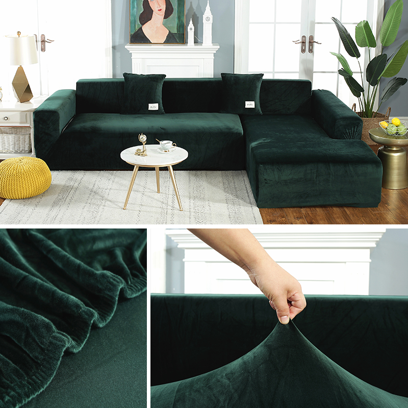 Plush Sofa Covers Chaise Longue for Living Room Velvet Corner Armchair Elastic Couch Cover 2 and 3 Seater Furniture Slipcover