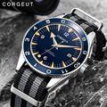 Мужские часы Corgeut 41 мм  сапфировые автоматические механические Роскошные Брендовые спортивные водонепроницаемые наручные часы 007 с нейлоно...