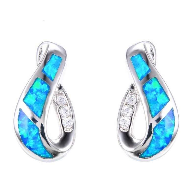 מעודן גיאומטרי כחול חיקוי אש אופל Stud עגילים לנשים אביזרי תכשיטי האופנה Rhinestones נשים עגילי מתנה