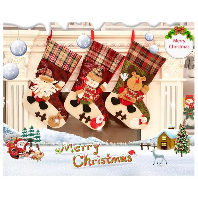 Christmas Decorations Christmas Socks Gift Bag Santa Claus Candy Bag Christmas Tree Ornaments Xmas Stockings & Gift Holders Bags 3