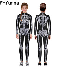 W Yunna 2019 Autumn Clothes Fashion Skeleton Blood Scary Costume Holloween 3d Print Full Sleeves Full Length Jumpsuits for Kids