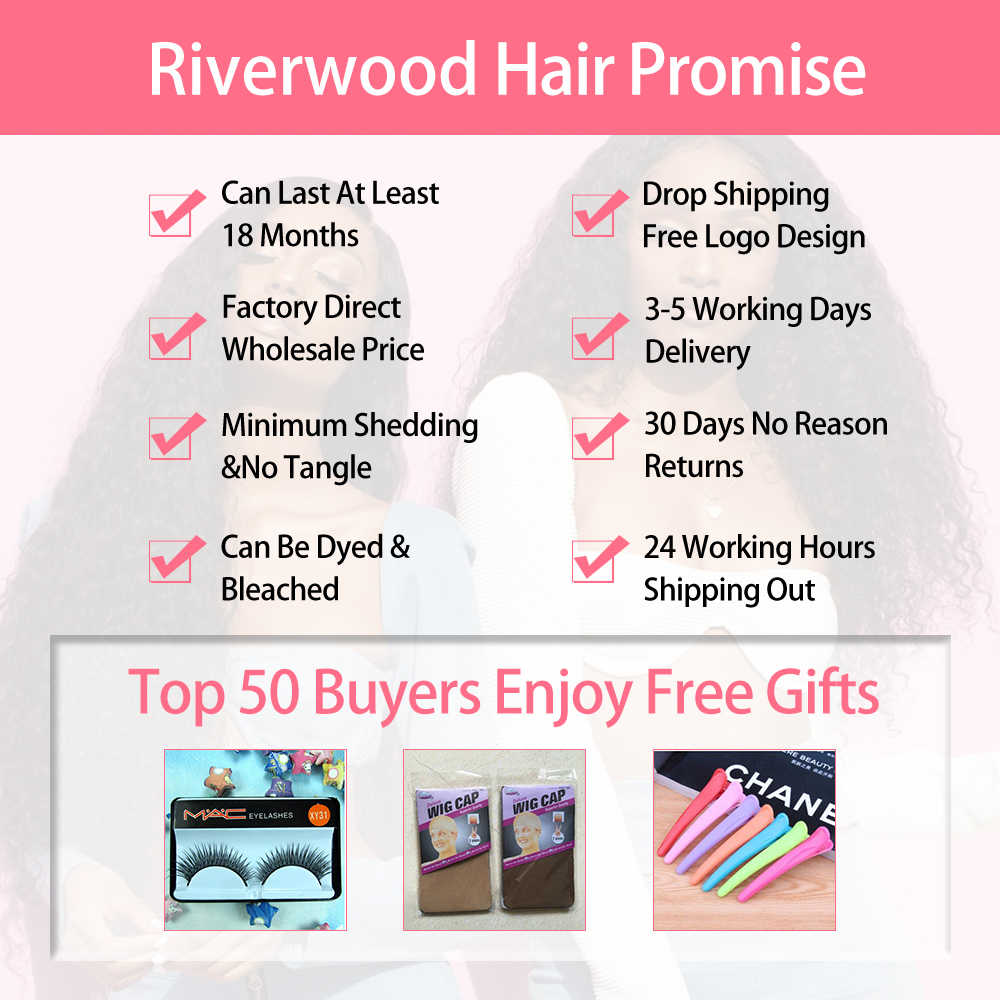 """Riverwood Brazilian Body Wave 100 Human Hair Bundles 1/3/4 Bundles Remy Hair Weaves Natural Color 10""""-26"""" Inches Hair Extensions"""
