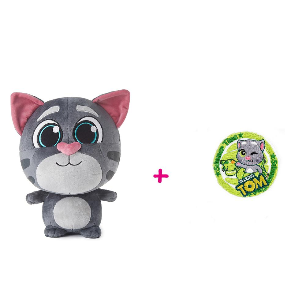 Plush Tom + Embroidery Badge Set Soft Cat Toys Stuffed Animal Birthday Christmas Gift For Kids Child