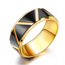 JHSL Fashion Jewelry Trendy High Polishing Male Men Statement Black and Gold Color 8mm Rings Stainless Steel Size 7 8 9 10 11 12 fashion stainless steel silver color men spinner ring punk jewelry personality male rings size 7 8 9 10 11 12