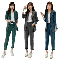 Autumn Winter Casual Blazer Suit Korea Fashion Womens Corduroy Suits Blazer with High Waist Pants Green,Blue,Dark Gray