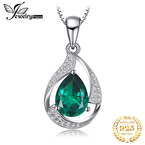 Image 1 - Jpalace 3ct Simulated Nano Emerald Pendant Necklace 925 Sterling Silver Gemstones Choker Statement Necklace Women No Chain