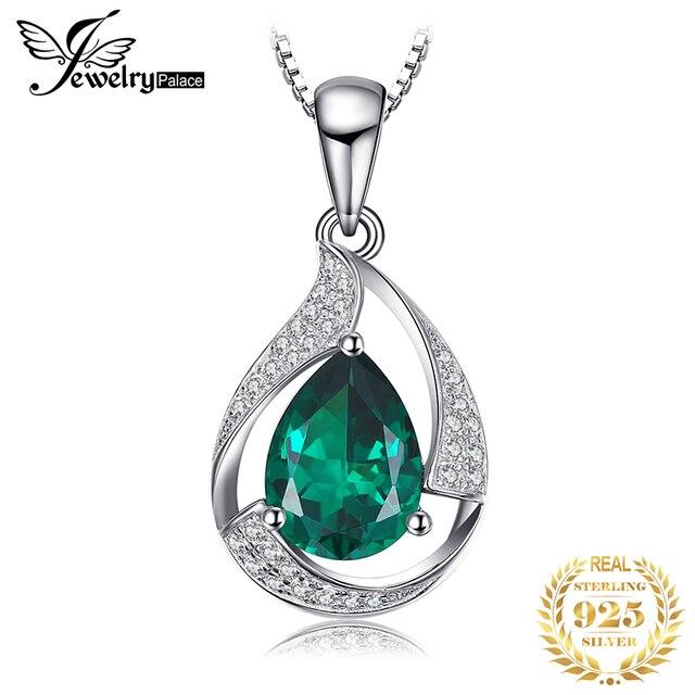 Jpalace 3ct Simulated Nano Emerald Pendant Necklace 925 Sterling Silver Gemstones Choker Statement Necklace Women No Chain