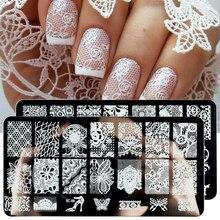 Laço de flores placas de carimbo de unhas mandala geométrica arte do prego modelos polonês impressão estênceis manicure ferramentas