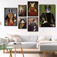 Estilo Vintage pintura en lona de animales ciervo gato perro carteles con retrato e impresiones pared nórdica arte imagen para la decoración de la sala de estar