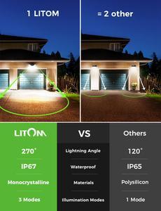 Image 4 - ترقية LITOM 200 LED ضوء الشمس IPX7 مستشعر حركة مضاد للماء الجدار الخفيفة 3 طرق قابل للتعديل و 270 درجة زاوية واسعة مصباح الحديقة