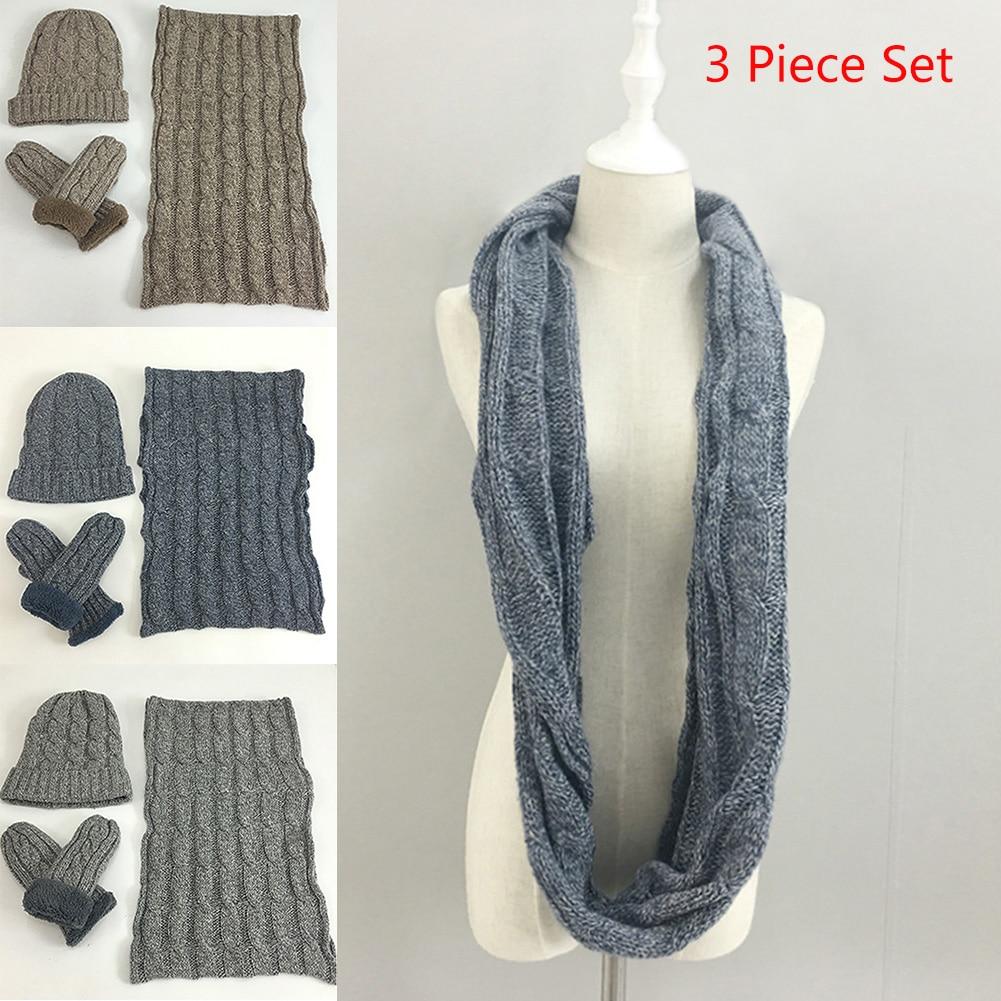 Men Snowboard Winter Neckerchief Beanie Hat Fashion Unisex Scarf Gloves Set Ski Knitted Thermal Neck Glove Warm Soft Solid
