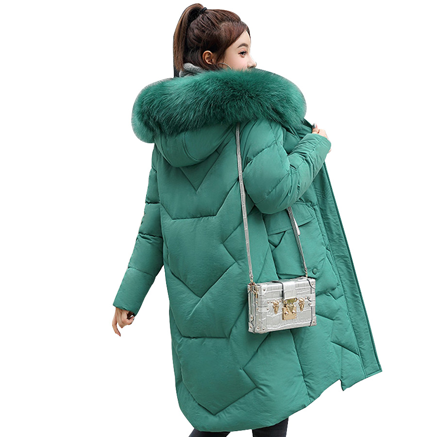Fur collar winter coat women hooded   parka   long jackets female slim warm thicken down cotton wadded outwear   parka   plu size 2019