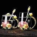 Novo esmalte cristal copos de café e canecas para bebida quente e fria casa xícara de chá colher conjunto perfeito presente de casamento flor chá caneca de vidro