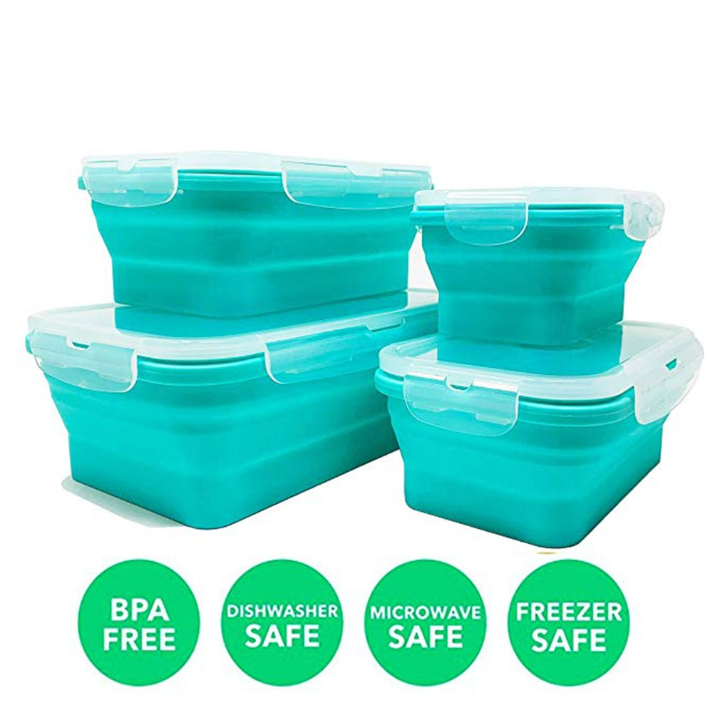 New Silicone Lunch Box Collapsible Portable Box Bowl Bento Boxes Folding Food Container 350/500/800/1200ml Eco Friendly|  - title=