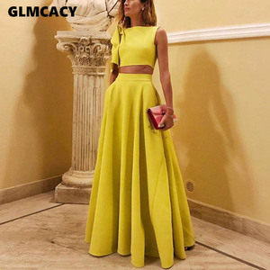 Women Streetwear O-neck Pullovers Flare Sleeve Women's Sets Elegant One-shoulder Short Tops and Floor-length Skirt Two Pieces