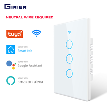 "Tuya Wifi חכם אור מתג ארה""ב 1/2/3 כנופיית מגע פנל קיר מתג 110 240V ניטראלי הנדרש תואם עם Alexa Google בית"