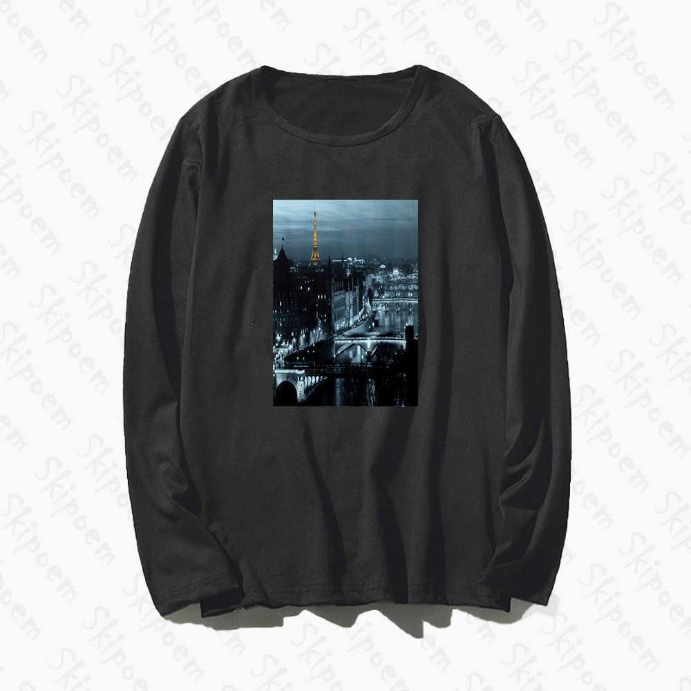 Paris Black And White Photography Women Tshirt Vintage Aesthetic Harajuku Plus Size Long Sleeve Cotton Top Tees Tee Shirt Femme Aliexpress