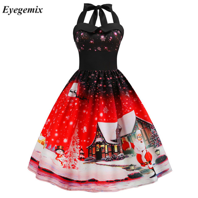 Sexy Halter Party Xmas Dress Women Fashion Robe Vintage Pinup Rockabilly Snowflake Santa Print Christmas Dress Knee-Length