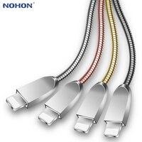Datos USB cargador de Cable de carga para iPhone 6 6 S 6 6 S 7 7 Plus 5 5SE X XR XS Max iPad aire Mini origen adaptador Chapado en Metal de alambre de Cable