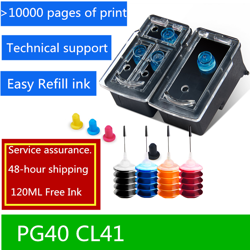 Refillable Ink Cartridge PG 40 PG40 CL41 compatible for Canon PIXMA IP1180 1880 1980 MP145 MX300