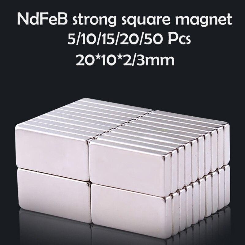 10/15/20/50 adet 20x10x 2/3mm neodimyum mıknatıs 20mm x 10mmx2 N35 ndFeB blok süper güçlü güçlü kalıcı manyetik imanes disk