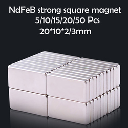 10/15/20/50Pcs 20x10x2/3mm Neodymium Magnet 20mm x 10mmx2 N35 NdFeB Block Super Powerful Strong Permanent Magnetic imanes Disc