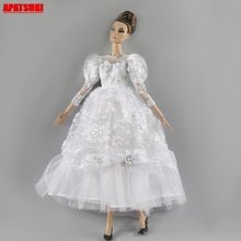 цена на White Lace Princess Long Dress for Barbie Doll Wedding Dress For 1/6 BJD Doll Evening Party Dress for 1:6 Dolls Best DIY for Toy