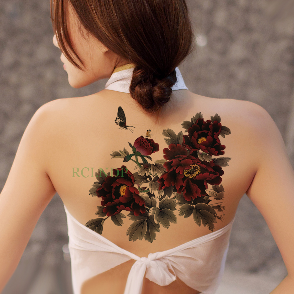 Waterproof Temporary Tattoo Sticker Peony Flower Butterfly Fake Tatto Flash Tatoo On Body Back Belly Big Size For Women Men Girl