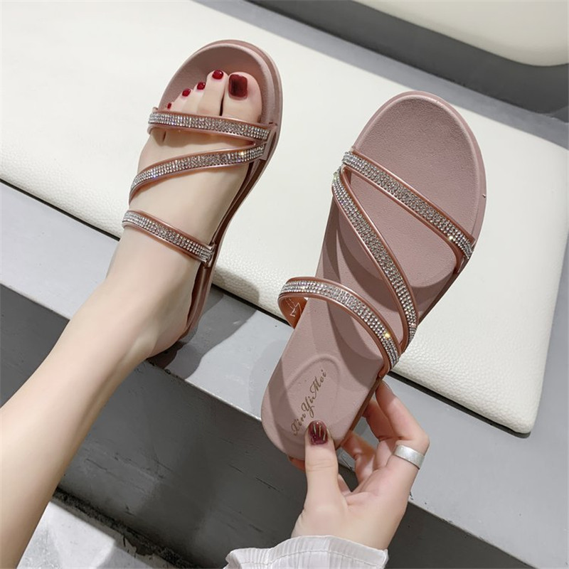 Fashion Women's Shoes Roman Style Rhinestone Slippers Bling Open Toe Sandals Sexy Slides Beach Flip-Flops Pink Slippers