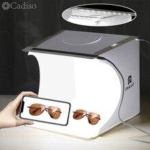 Cadiso caja de luz plegable para fotografía caja iluminada para fotografía de estudio portátil, Kit de fondo con 2 Softbox LED, tienda de tiro para teléfono con cámara