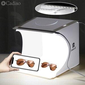 Image 1 - Cadiso fotografie Vouwen Lightbox Draagbare Studio Photo Light Box 2 LED Softbox Achtergrond Kit Schieten Tent voor Camera Telefoon