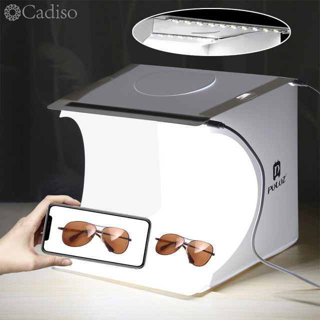Cadiso fotografie Vouwen Lightbox Draagbare Studio Photo Light Box 2 LED Softbox Achtergrond Kit Schieten Tent voor Camera Telefoon