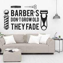 Barbershop Tool Cut Shave Window Wall Sticker Barber Hair Hairstylist Salon Shop Wall Decal Vinyl Decor Quotes Decal  E301 barbershop logo vinyl wall sticker cut shave trim salon wall decor wall window removable art mural decals hj268