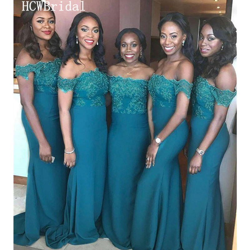 Wholesale Dark Green Mermaid   Bridesmaid     Dresses   Off The Shoulder Lace Elastic Satin Long African Women Wedding Party Gowns Cheap