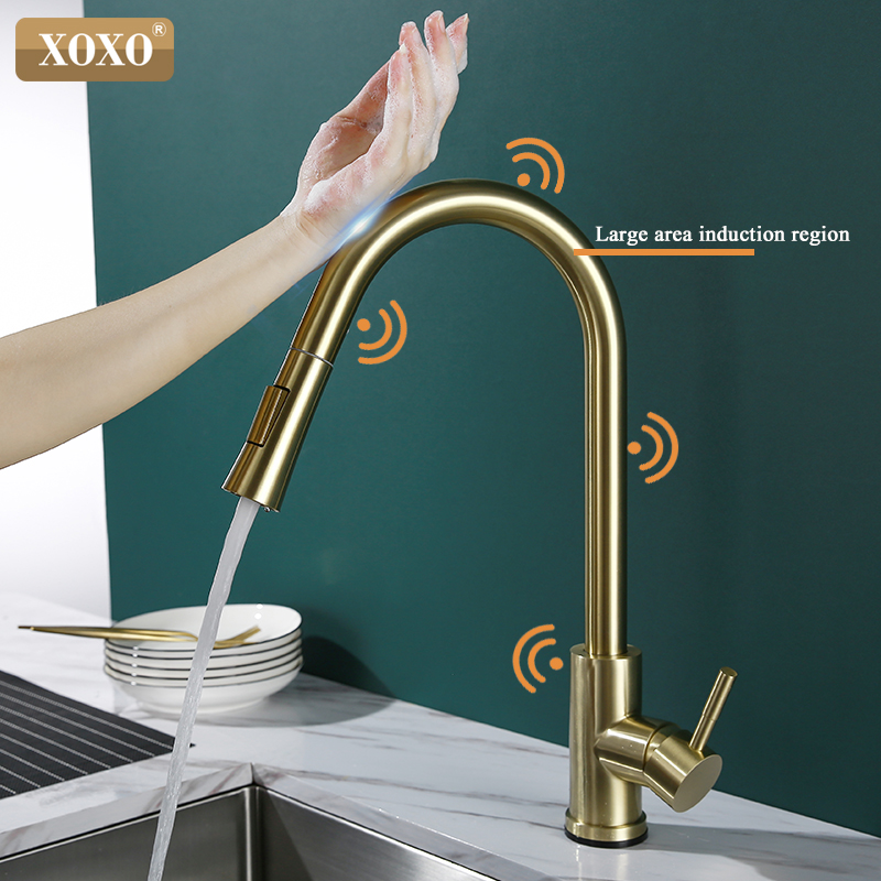 Kitchen Faucet Pull Out Smart Touch Faucet Cold And Hot Brushed Gold Torneira Cozinha Single Hole Sink Faucet Mixer 1348-1