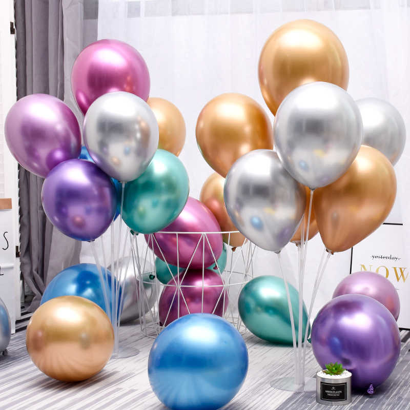 10Pcs 12inch Metalic Chrome Balon Wedding Baby Shower Birthday Carnival Party Decor Latex Metallic Balloon Supplies Helium Favor