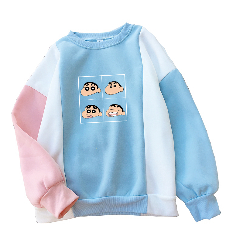 Women Harajuku Japanese Crayon Shin Chan Anime Print Sweatshirt Casual Streetwear Kawaii Cartoon Print Fleece Spell Color Hoodie