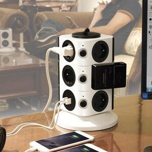 Image 5 - Kule güç şeridi dikey dalgalanma koruması 11/15 prizleri 2 USB şarj portu 6.5ft/2M uzatma kablosu ev aletleri için