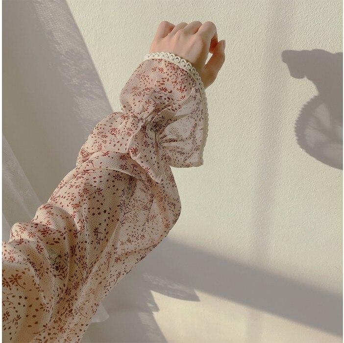 He57c026c7662477881fc58a63e4a2c13T - Autumn Puritan Collar Long Sleeves Chiffon Floral Print Lace-Up Slim Midi Dress