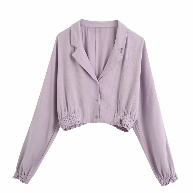 New Women Solid Color Turn Down Collar Purple Short Smock Blouse Female Lantern Sleeve Hem Elastic Shirt Chic Casual Tops LS6739