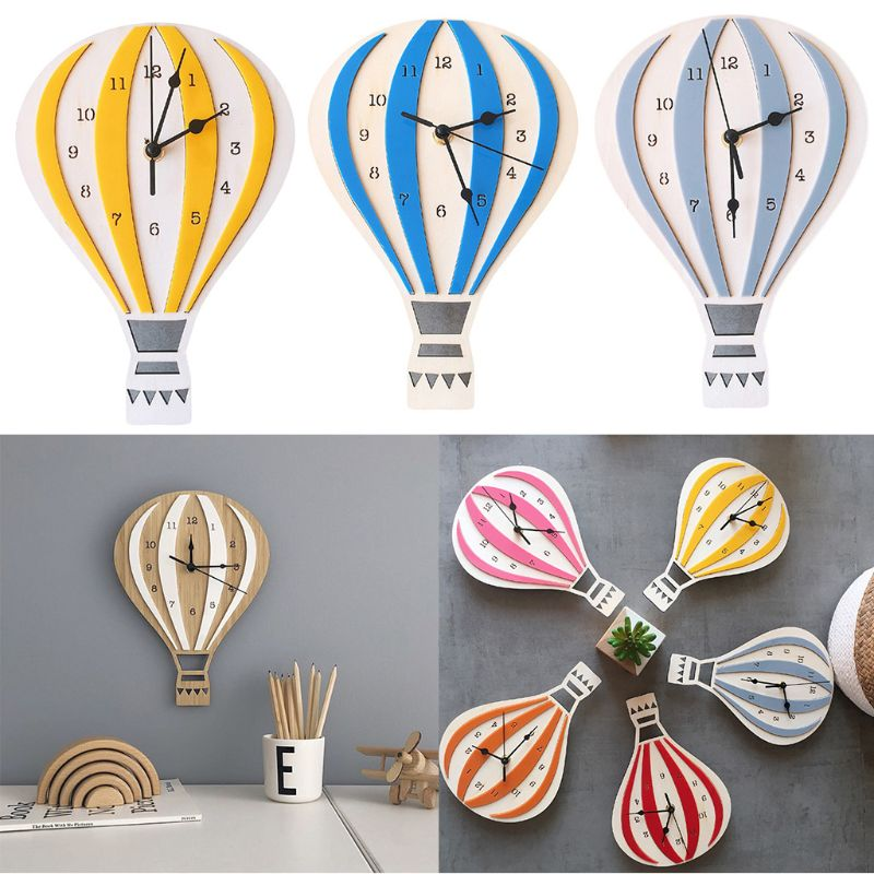 Nordic Style Home Decoration Clock Hot Air Balloon Shape Cartoon Mute Children Room Wall Clocks Decor