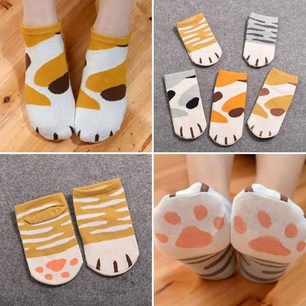 New Autumn Winter Cotton Cartoon Cute Cats Paw Socks Woman Girls Lovely Cartoon Animal Ankle Sock Kitty Claw Striped Short Socks