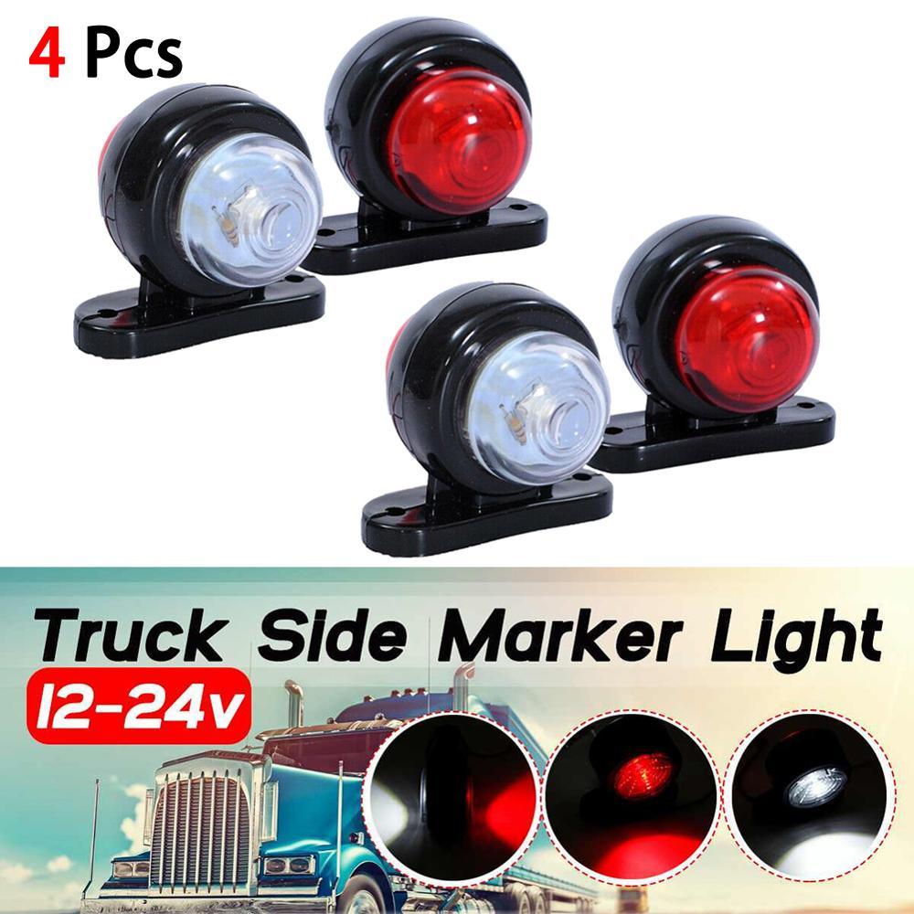 4PCS Universal LED Side Marker Lights Super Bright 12/24V Car External Lights Warning Tail Light Trailer Truck Lorry Lamps White