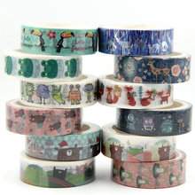 1PC Cute frog fox deer Animals Masking Washi Tape Decorative Adhesive Tape Decora Diy Scrapbooking Sticker Label Stationery
