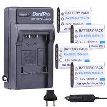 Batterie, chargeur de voiture, prise EU, pour Nikon Coolpix S550 S560 Pentax M50 W60 W80, 4 pièces, EN-EL11 EN EL11 D-Li78 D Li78 NP-BY1, NP BY1