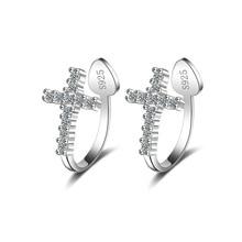 925 Silver Cross Ear Cuffs CZ Zircon Clip on Earrings for Wo