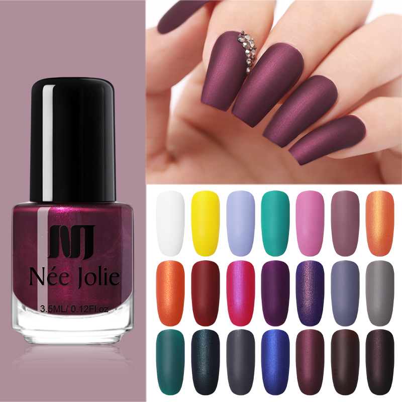 NEE JOLIE 3.5ml Matting Nail Polish Black  Color Pink Nail Art Oily Varnish  DIY Matte Dull Nail Varnish